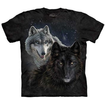 The Mountain STAR WOLVES T-Shirt White & Black Wolf Face Space S-XL 4XL 5XL NEW!