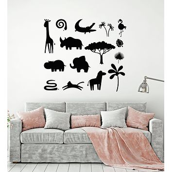 Vinyl Wall Decal African Animals Children's Room Nature Stickers Mural (g1808)