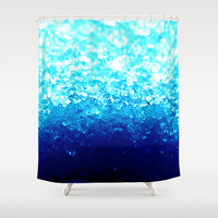Turquoise Blue Crystals Shower Curtain by 2sweet4words Designs | Society6