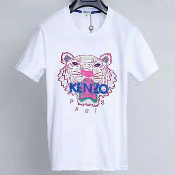 Kenzo Tide brand half sleeve men and women classic tiger embroidery logo T-shirt white