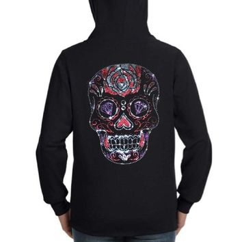 Rhinestud Sugar Skull Day of the Dead Zip Up Hoodie Sweatshirt Black S M L XL Plus Size 1x 2x 3x 4x 5x