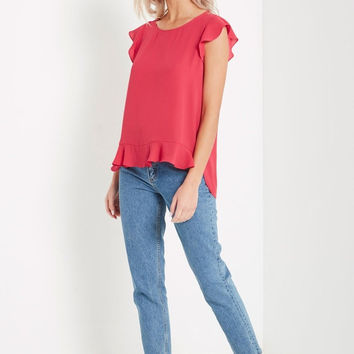 Ruffled Short Sleeve Top