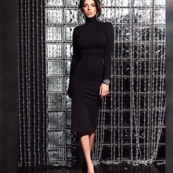 Office or church sheath dress with turtleneck & long sleeves