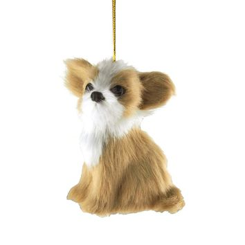 Chihuahua Plush Dog Christmas Ornaments, Natural, 3-1/2-Inch
