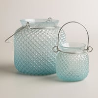 Blue Opaque Glass Honeycomb Lantern