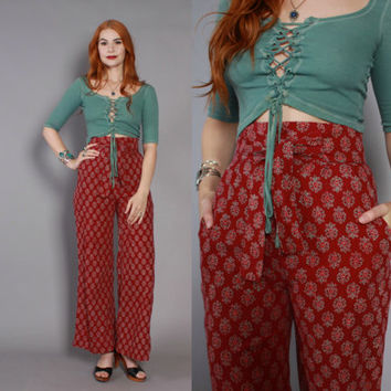 70s INDIAN Cotton High Waist BELL BOTTOMS / Rare 1970s Ultra High Waisted Batik India Trousers Pants xs