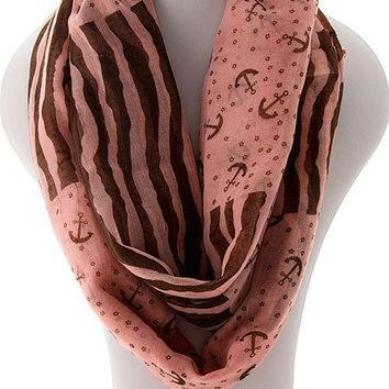 Anchor Infinity  Scarf - Pink