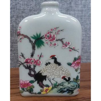 Chinese Long Life Crane Miniature Porcelain Bottle