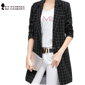 2016 High Quality Spring Autumn Long Blazer Slim Women Suit Tweed Lapel Neck Long Sleeves Plaid Pattern Hidden Breasted  C67513H