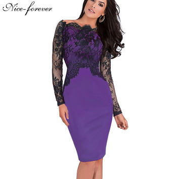 Nice-forever Off-Shoulder Gorgeous Vintage Dress Sexy Slash Neck Lace Top Long Sleeve Zipper Club wear Casual Pencil dress 803