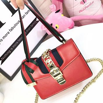GUCCI New Fashion High Quality Stripe Leather Shoulder Bag Women