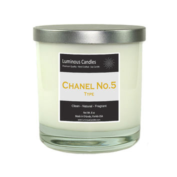 Chanel No.5 type Hand Poured Soy Candle - 8 oz Rock Glass Jar Candle with Brushed Metal Lid - Chanel Decor