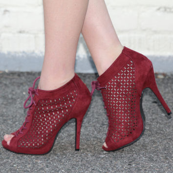 """Bridget"" Cut Out Detailing Lace Up Peep Toe Booties - Wine"