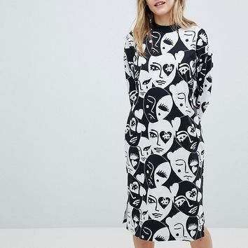 Monki Long Sleeve All Over Face Print Midi Dress at asos.com