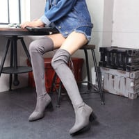 Side Zipper Thigh High Boots Chunky Heel Women Shoes 5442