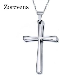 ZORCVENS Stainless Steel Punk Women Mens Cross Pendant Necklace Male Female Box Chain Necklace Ladies New Fashion Jewelry Gift