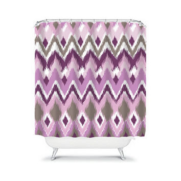 iKat Shower Curtain Aztec Tribal Chevron Taupe Purple Colors Pattern Bathroom Bath Polyester Made in the USA