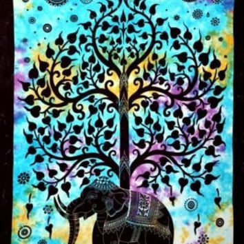 Elephant Tree Tapestry ,Good Luck Elephant Tapestry , Hippie Gypsy Wall Hanging , Tree of Life Tapestry , New Age Dorm Tapestry Throw Cotton Bedspread Hippie Hippy Table Cloth Decor Picnic Blanket 54x86''