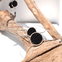 Shagreen bangles - Unpolished black stingray leather in silver plated bezel bangle bracelet