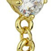 14kt Gold Plated Surgical Steel CZ Crystal Tear Drop Sexy Fancy Dangle Belly Button Ring
