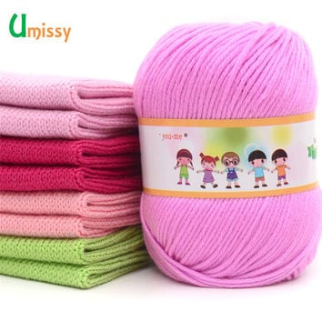 Cotton Silk Knitting Yarn Soft Warm Baby Yarn for Hand Knitting Anti-Bacterial Eco-friendly Supplies 50g/pc