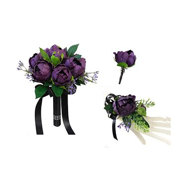 Real Touch Peony Bouquet Corsage Boutonniere - Pick Peony color and Ribbon color