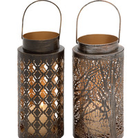 Beautiful Metal Candle Lantern 2 Assorted