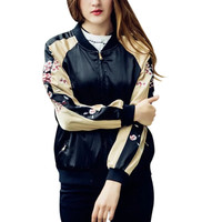 2017 Fashion Womens Flower Embroidery Bomber Jackets Ladies Stand Collar Satin Short Pilots Outwear Coat Chaquetas Mujer