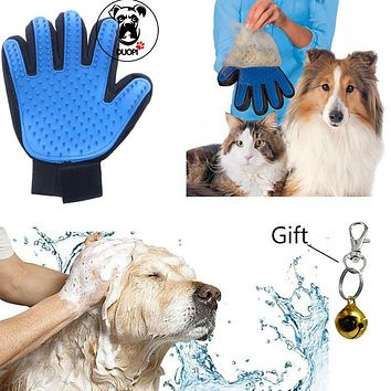 Silicone True Touch Glove Gentle Efficient Pet Grooming Brush Bath Dog Cat Gloves For Removing Hair From Domestic Animals