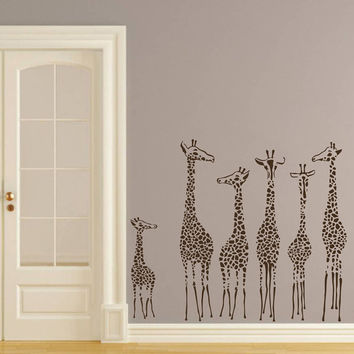 Wall Decal Giraffe Vinyl Sticker Decals Art Home Decor Design Mural Animals Jungle Safari African Kids Children Nursery Baby Bathroom AN687