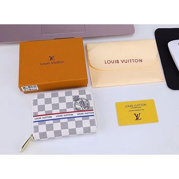 LV Fashion square pull wallet B-LLBPFSH Women Men Wallet White Tartan B-LLBPFSH