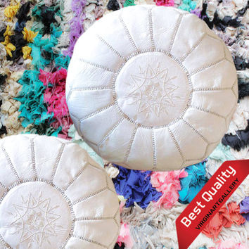 Moroccan ottoman pouf, White leather pouf, Footstool,100% handmade, Give your room a dash of style with the Moroccan Pouf Ottoman!