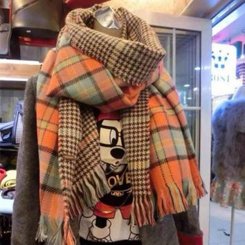 Men and women fall and winter houndstooth plaid scarves long scarf shawl sided