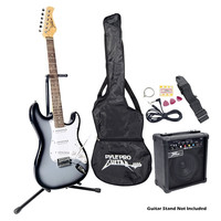 Pyle PEGKT15GS Electric Guitar Beginners Package Grey/Silver W/Amp & Accessories