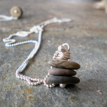 Cairn Stacked Stone Necklace
