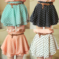 multiple color polka dot short skirt  with belt