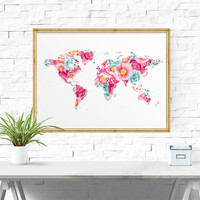 Printable Wall Art, World Map, Printable Poster, Floral Wall Decor, Office Decor, Floral Maps, World Map, Printable