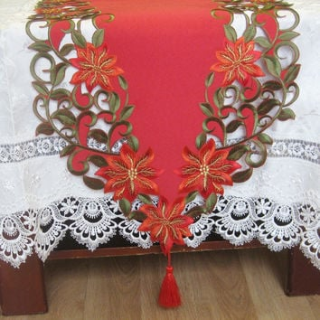 New For Christmas Polyester Embroidery Xmas Table Runner Satin Tablecloth Cutwork Placemat Red Table Flag Towel Cloth Covers