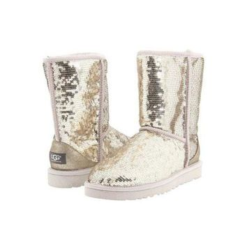 DCCKIN2 Ugg Boots Black Friday Sale Classic Short Sparkles 3161 Silver For Women 114 45