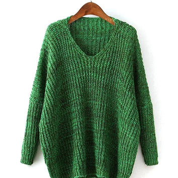 Green V Neck Jumper