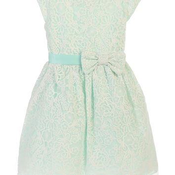 SWEET KIDS BOUQUET EMBROIDERED ORGANZA FLOWER GIRL MINT DRESS - SK626