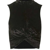 Crushed Velvet Twist Front Top - Clothing