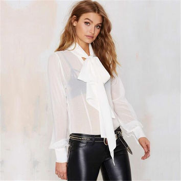 Perspective Women Bow Shirt Fashion Shawl Collar Blouses Female Black White Shirts Long Sleeve Chiffon Blouse Tops 32194