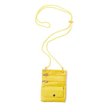 Genuine Leather Multi-Pocket Crossbody Purse Bag - Yellow