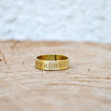 "Wanderlust Ring / Travel Ring / Thumb Ring / Travel Gift / Personalized Jewelry / Handmade Adjustable Ring With ""Wanderlust"" Engraving"