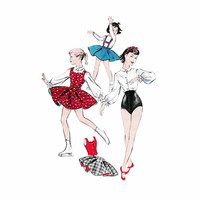 1950s Advance 8385 Girl's Skating and Dance Separates, Circular Skirt, Shorts, Blouse Size 6 || Bust 24in /61cm || Vintage Sewing Pattern