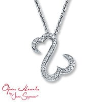 Open Hearts Necklace 1/8 ct tw Diamonds Sterling Silver