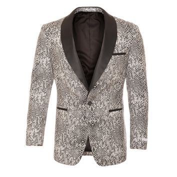 Ash Black and White Snake Skin Tuxedo Blazer