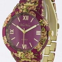 METALLIC FLORAL DESIGN WATCH