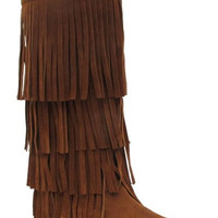 Rust Fringe Moccasin Boots